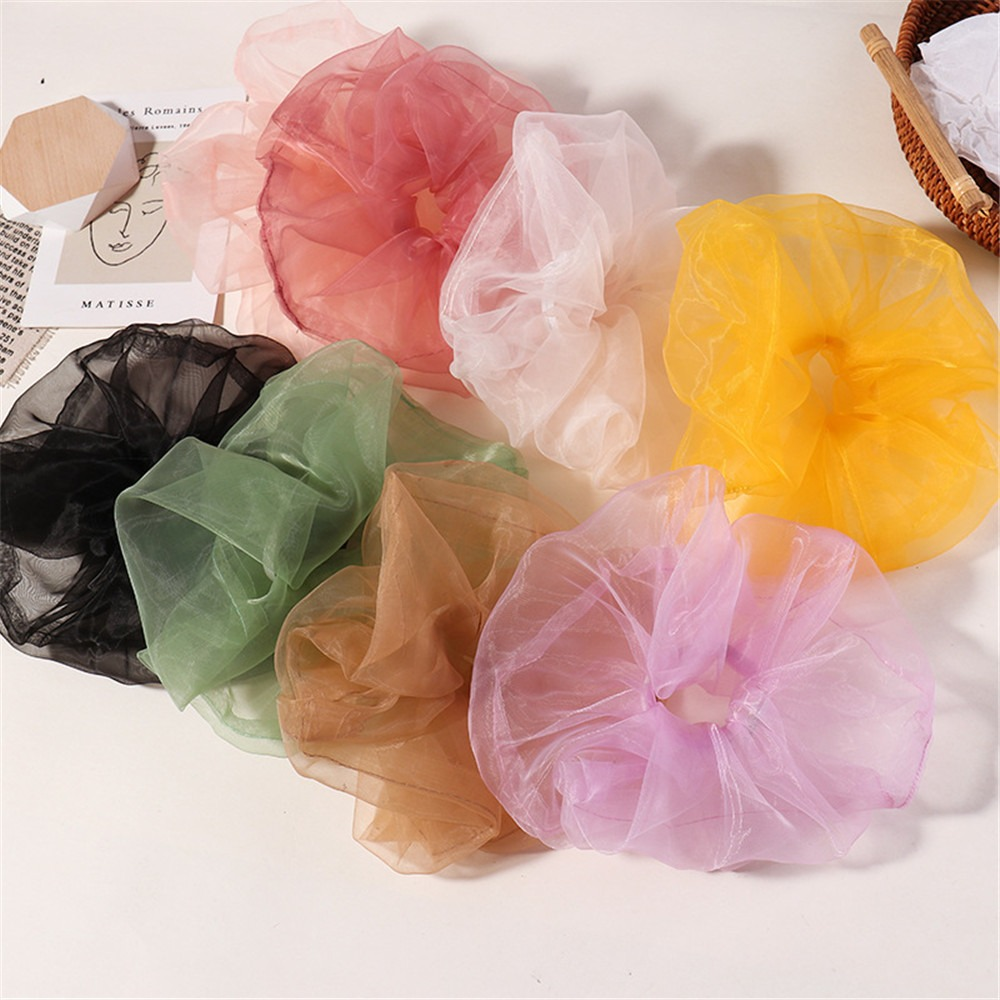 2020 New Arrival Korean Pure Color Transparent French Organza Yarn Cloud Hair Ring Elastic Hair Rope Hair Tie Hair Accessories