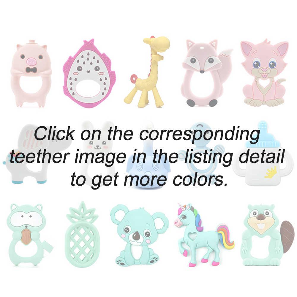LOFCA, 1 unidad, juguetes para dentición de bebés, dibujos animados, helado de silicona, dije mordedor, collar de mapache, accesorios, juguetes para morder, DIY
