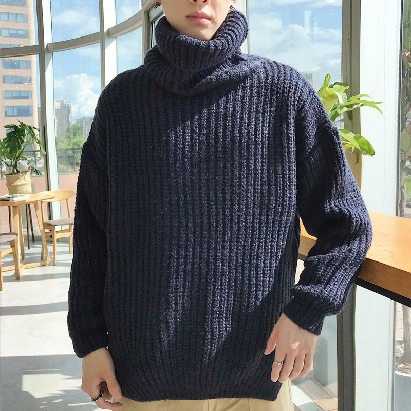 High Lead Loose Knitting Sweater Man Roughage Men's Wear Turtleneck Solid Color Casual Sweaters Pullover Turtleneck Long Shirt