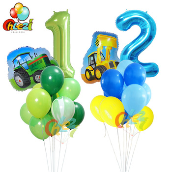 12pcs Farm Tractor Helium Balloons 40 inch Number Foil balloon baby shower Farm Theme birthday party decorations kids Air Globos 30 40 inch rose gold silver foil number balloons birthday party decor air helium number globos kid baloons birthday balon