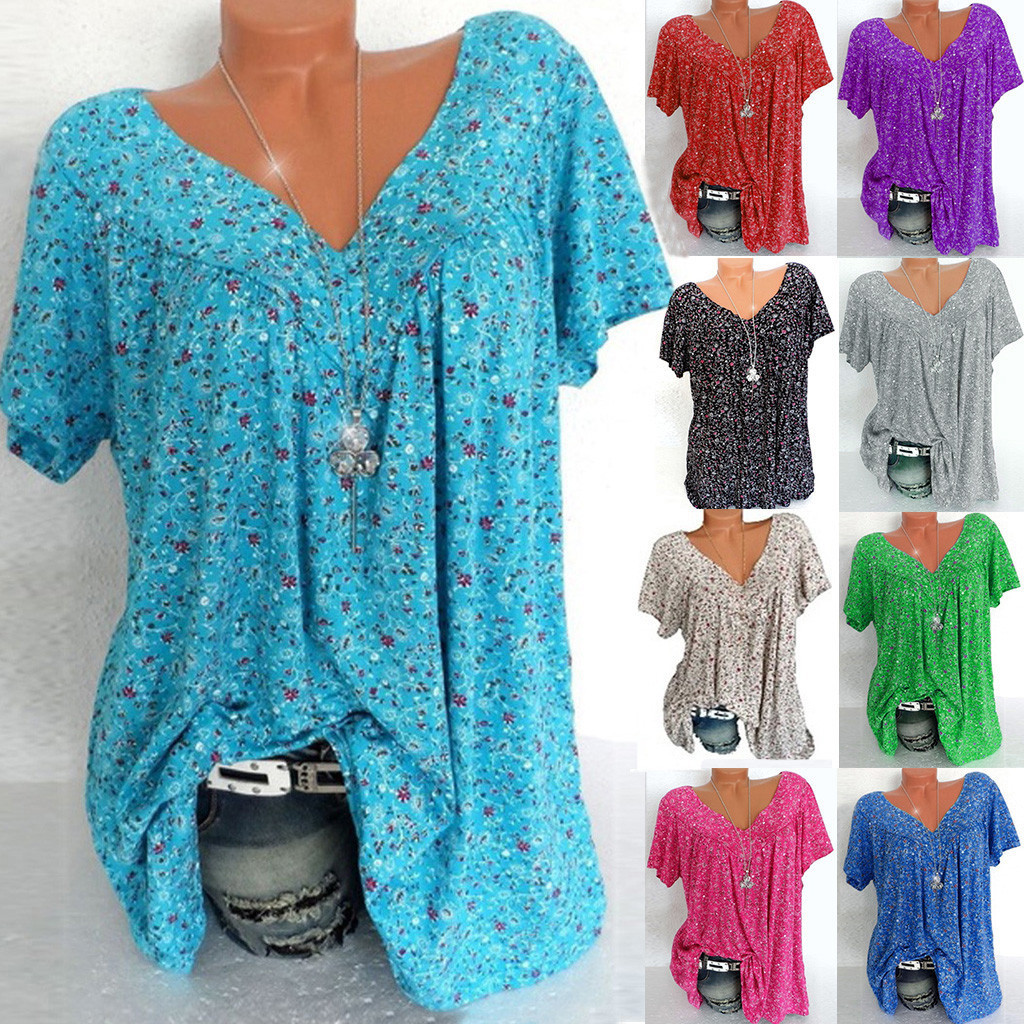 Plus Size Fashion Printed T-Shirt Casua Summer tshirt Ladies V-Neck Tunic Tops Female Women Short Sleeve Shirt Blusas Pullover