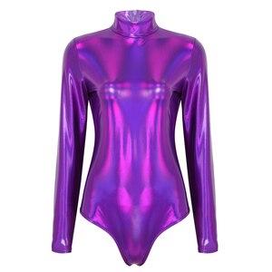 Image 2 - Kobiety trykot body kostium jednoczęściowy błyszczące metalowe gimnastyczne golf z długim rękawem body kombinezon Clubwear kobiety