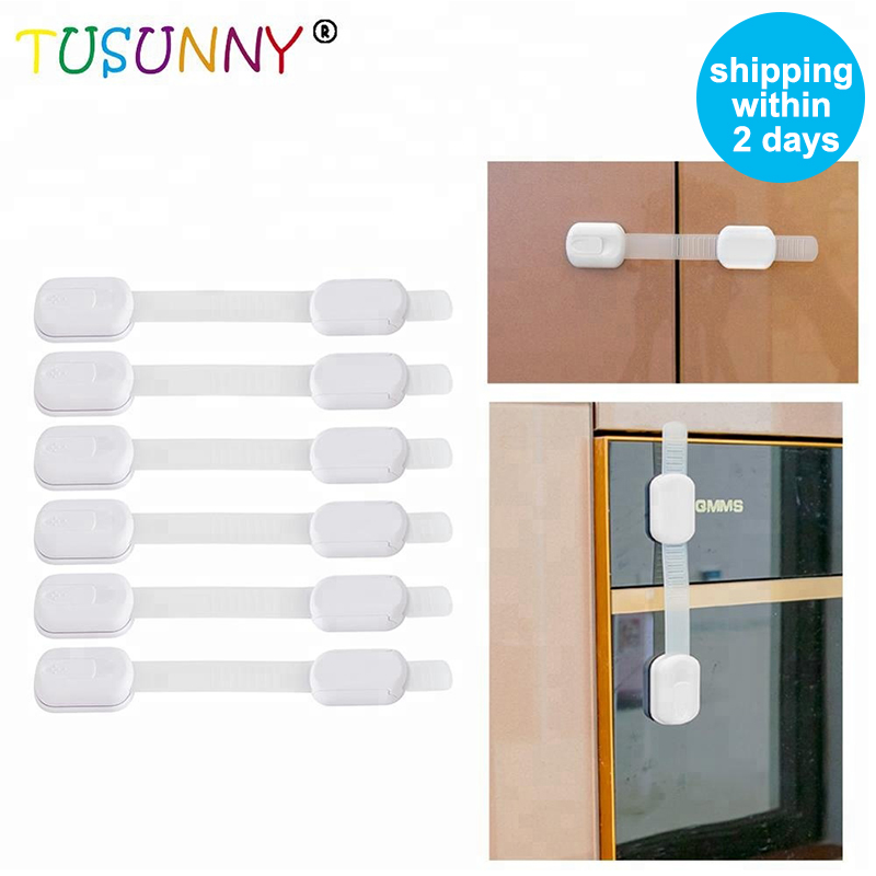 TUSUNNY 6 Pcs  Adhesive Cabinet Fridge Drawer Lock Children Security Products Baby Safety Lock For Kids