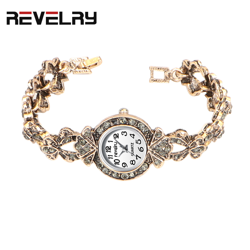 QINGXIYA Hot Sales Ancient Gold Bracelet Watches Women Ladies Fashion Shining Crystal Dress Quartz Wristwatch Rhinestone Watch