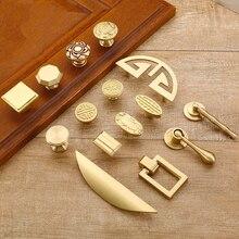 Pure Copper Kitchen Cabinet Handles Cupboard Door Pulls Drawer Knobs European Vintage Brass Gold Furniture Handle Hardware