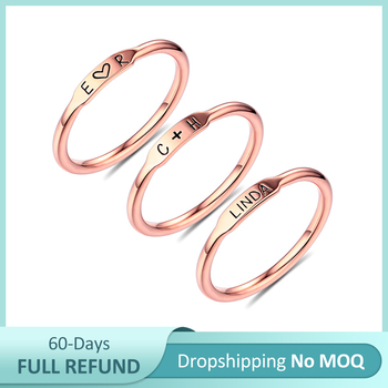 Sweey Dropshipping Personalized Ring Free Engrave Stackable Bar Rings for Women Gift for Shopify/Ebay/Amazon ebay