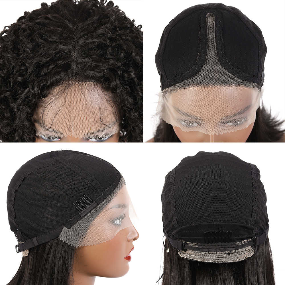 SOKU Keriting Keriting Renda Sintetis Depan Wig Bob Pendek Longgar Keriting Rambut Wig untuk Harian Cosplay Afro Wanita Hitam Klasik gaya Rambut
