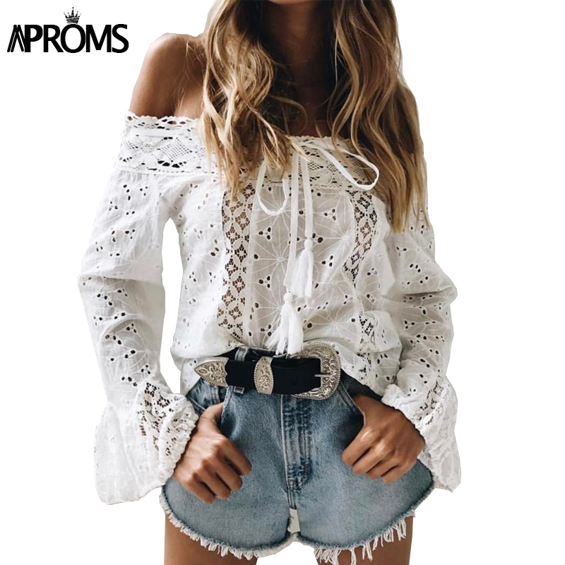 Aproms White Lace Crochet Blouse Women Flare Sleeve Hollow Out Sheer Shirt 90s Cool Girls Casual Off Shoulder Tunic Top Blusas