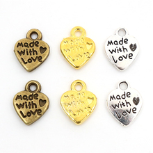 12x10mm 30pcs Antique Silver Plated Bronze and Gold Colors Plated Heart Handmade Charms Pendant DIY for bracelet necklace cheap Wadsfred Connectors Metal Zinc Alloy