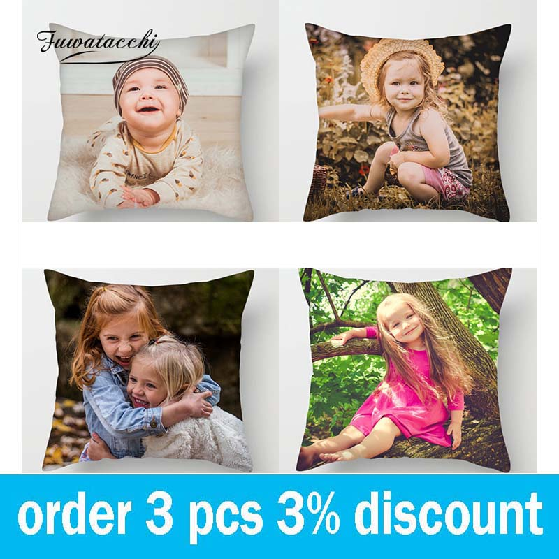 Fuwatacchi Colorful World Customization Pillow Cover Plant Life Art Customize Throw Cushion Cover Linen Pillowcase 45cm*45cm