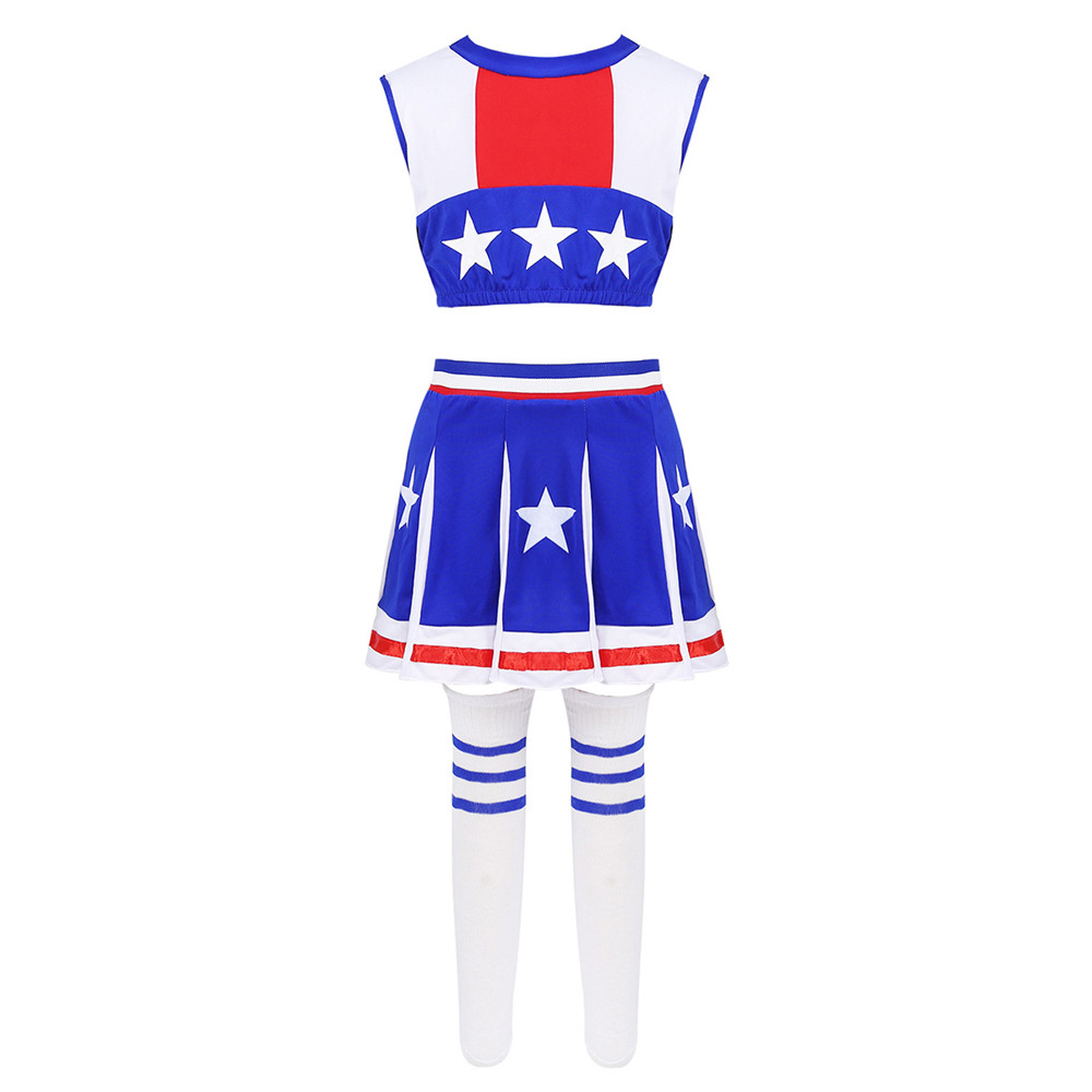 Kids Girls Cheerleading Uniform Sleeveless Stars Printed Crop Tops With Shorts Skirt Socks Dancewear Stage Performance Costume