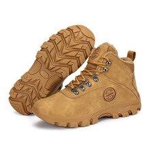 Chaussures dhiver hommes bottes de neige en plein air chaud en peluche troupeau en cuir chaussons garçon bottines homme en plein air baskets plate forme Botas