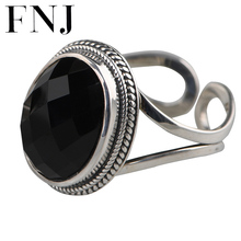 FNJ Statement Rings 925 Silver Adjustable Size Original 100% Real S925 Solid Silver Ring for Women Natural  Black Red Agate