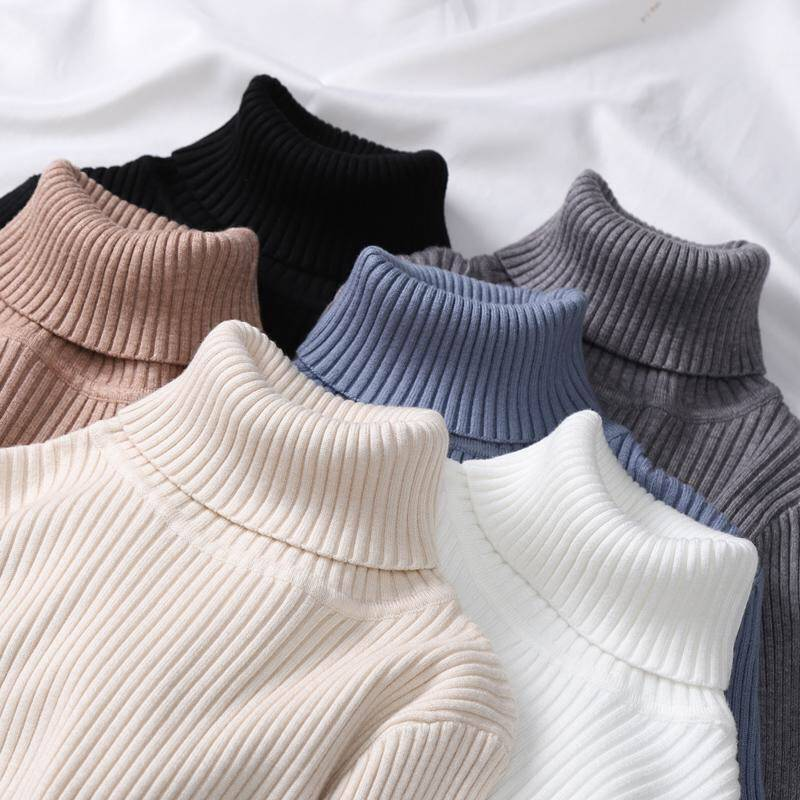 New-coming Autumn Winter Turtleneck Pullovers Sweaters Solid Shirt Long Sleeve Short Korean Slim-fit Tight Sweater Green Clothes