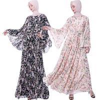 Fashion Muslim Women Abaya Floral Flare Sleeve Maxi Dress Robes Chiffon Dubai Dress Arab Islamic Clothing Loose Jilbab Dresses