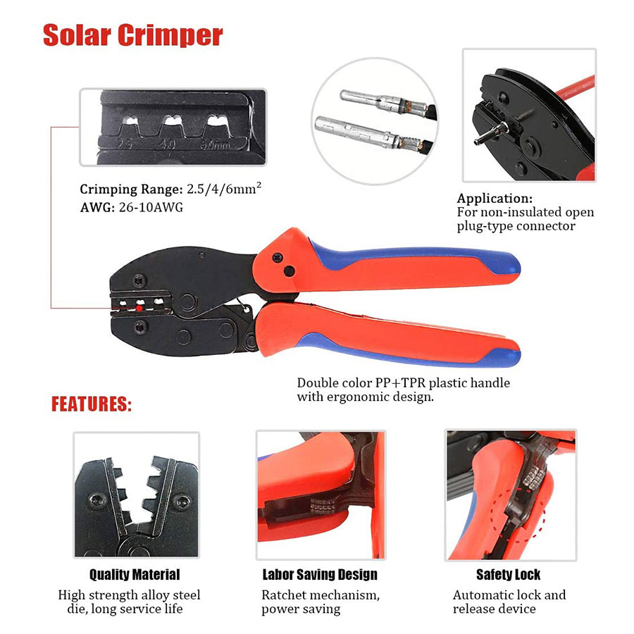 Tools : Solar Crimping Tools for 2 5-6 0mm     Solar Panel PV Cable 10pcs Male Female Solar Panel Cable Connectors Solar Connector Spanner