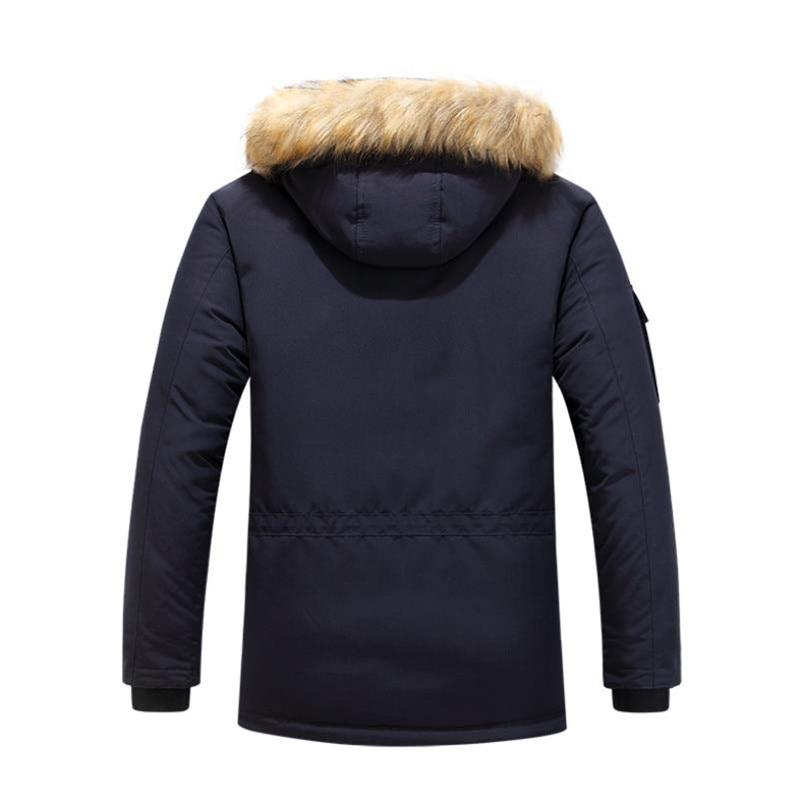 Mens Winter Jacket warm Thick Cotton Multi-pocket Hooded Jacket Male casual Fur Trim Coat men's Down jacket coat Plus size M-6XL 4