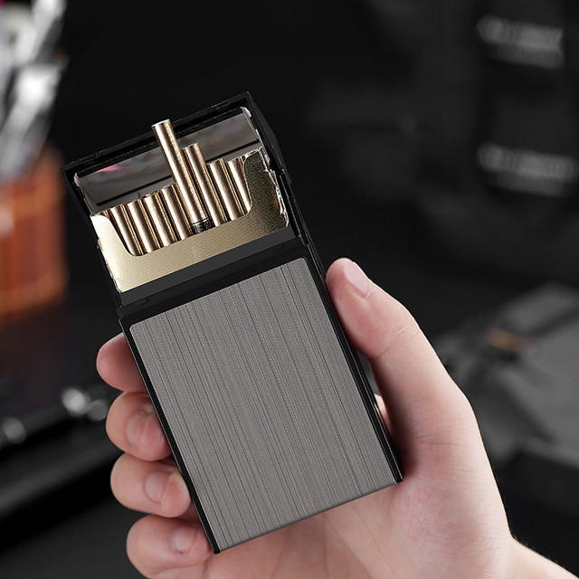 20 Sticks Cigarette Box Case Space Aluminum Slim Cigarette Holder Lighter Portable Cigarette Case Mens Gifts Smoking Accessories 1