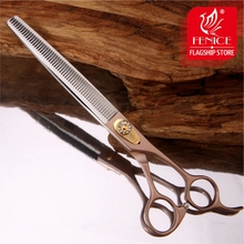 Fenice 7.5 inch Rose Gold Professional Pet Grooming Scissors Dog Thinning Shear JP440C Thinning Rate 35% 9inch professional shark teeth fishing bone pet thinning hairdressing scissor pet grooming shear tesouras hairstyle tool