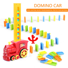 Children's Domino Train Sound and Light Automatic Laying Color Domino Intelligent Toy Electric Train  Box Game Puzzle Toy Gift