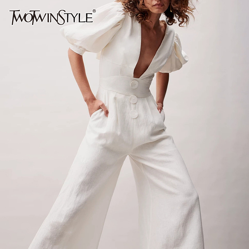 TWOTWINSTYLE Casual Ruched Lace Up Jumpsuit Female V Neck Lantern Half Sleeve High Waist Flare Pants Women's Jumpsuits 2020 Tide