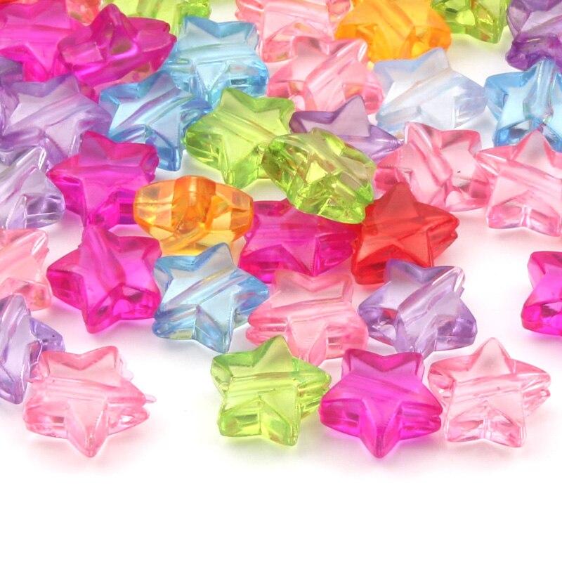 Прозрачные Акриловые бусины в виде смешанных звезд, 11 мм, бусины россыпью для изготовления ювелирных изделий своими руками, аксессуары для ...