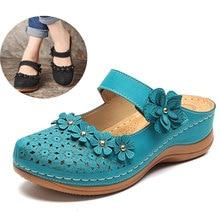 Sandalias florales Vintage para mujer Sandalias de punta redonda con flores ahuecadas para mujer 2020 verano Zapatos de suela blanda cómoda para mujer talla grande 44