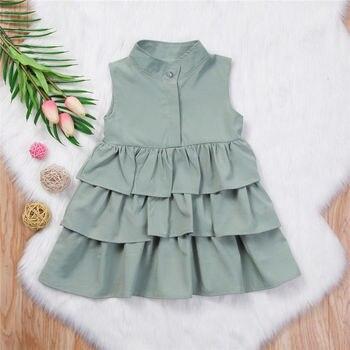Sommer Nette Schwarz Grün Ballkleid Mädchen Kleider Kind Mädchen Party Kleid Sleeveless O Neck Kuchen Rüschen Tutu Blase Kleid 2-6T 2