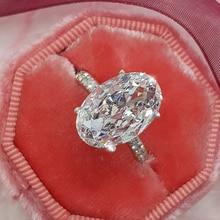Fashion Luxury White Silver Zircon Ring Lady Elegant Big AAA Oval Rhinestone Wedding Bridal Jewelry D30