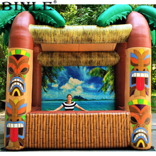 Outdoor opened inflatable Tiki bar with palm tree portable inflatable drinking bar serving bar for summer beach party