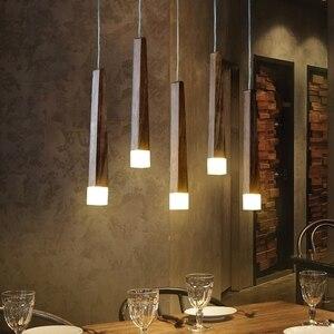 Image 2 - Lukloy 나무 펜던트 라이트 펜던트 램프 주방 매달려 램프 나무 교수형 조명 거실 현대 로비 조명 로프트 숍 램프