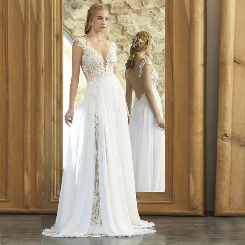 2018 Romantic Backless Boho Weddings Custom Low Appliques Lace Bridal Marry Gown Vestido De Noiva