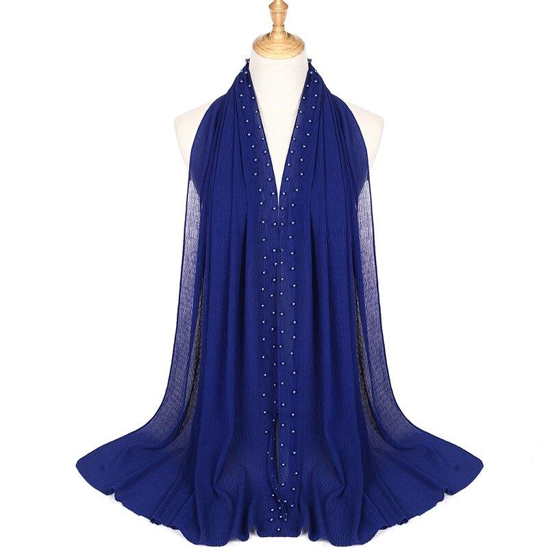 Image 4 - 2020 新夏ムスリム無地無地プリーツ真珠ビーズシフォンヒジャーブスカーフ女性のしわクリンクルジャージ女性のためのスカーフ    グループ上の アパレル アクセサリー からの レディース スカーフ の中