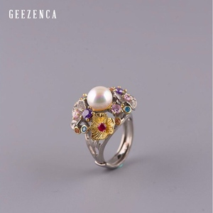 Image 2 - GEEZ925 Sterling Silver Flowers Baroque Pearl Ring Designer Jewelry For Women 2019 New Vintage Romantic Open Ring Party Female