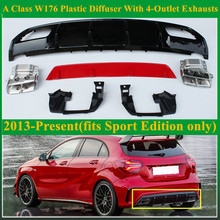 ABS A45 AMG Diffuser + 304 Stainless Steel 4-Outlet Exhaust Tip Fits Mercedes W176 2013 - IN Sport Edition A Class A180 A200