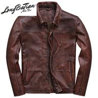 Jacket Men Genuine Vintage Cowhide Coat Spring Autumn 100% Real Cow Leather Jackets Veste Cuir Homme