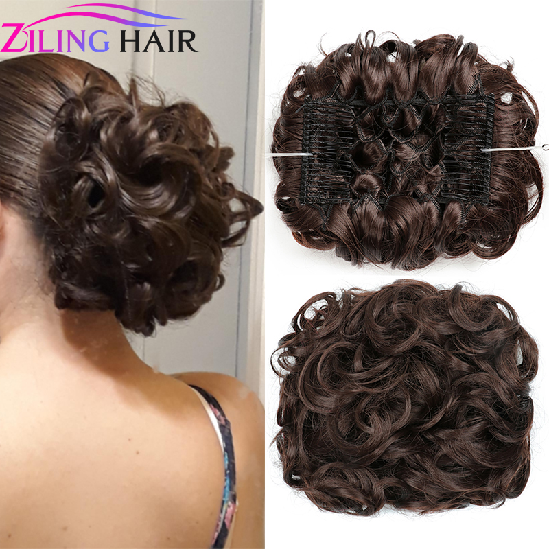Synthetic Messy Hair Donut Pieces For Women Updo Hair Chignon Bun Accessories For Hair Extensions With Comb Clips In Scrunchie