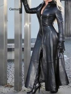 Vintage PU Jacket 2020 Winter X-Long Women's Faux Leather Coat Women Fashion Solid Stand-up Collar Zipper Retro Coat Female
