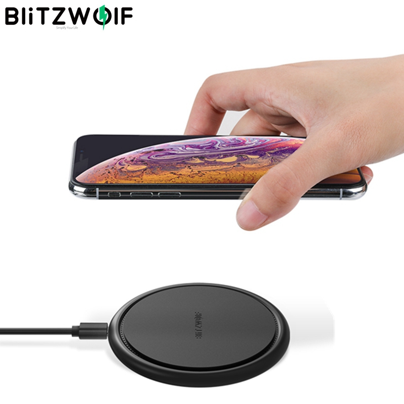 BlitzWolf Qi 10W 7.5W 5W Fast Charging Wireless Universal Charger 9V For iPhone 8 Plus X XS MAX For Samsung Note 9 S9 For Huawei|Wireless Chargers|   - AliExpress