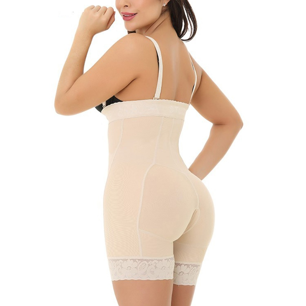 2019 Ladies Sexy Black Zipper Front Body Shapers 6XL Plus Size Tummy Control Underbust Bodysuit Underwear Slimming Body Shaper (10)