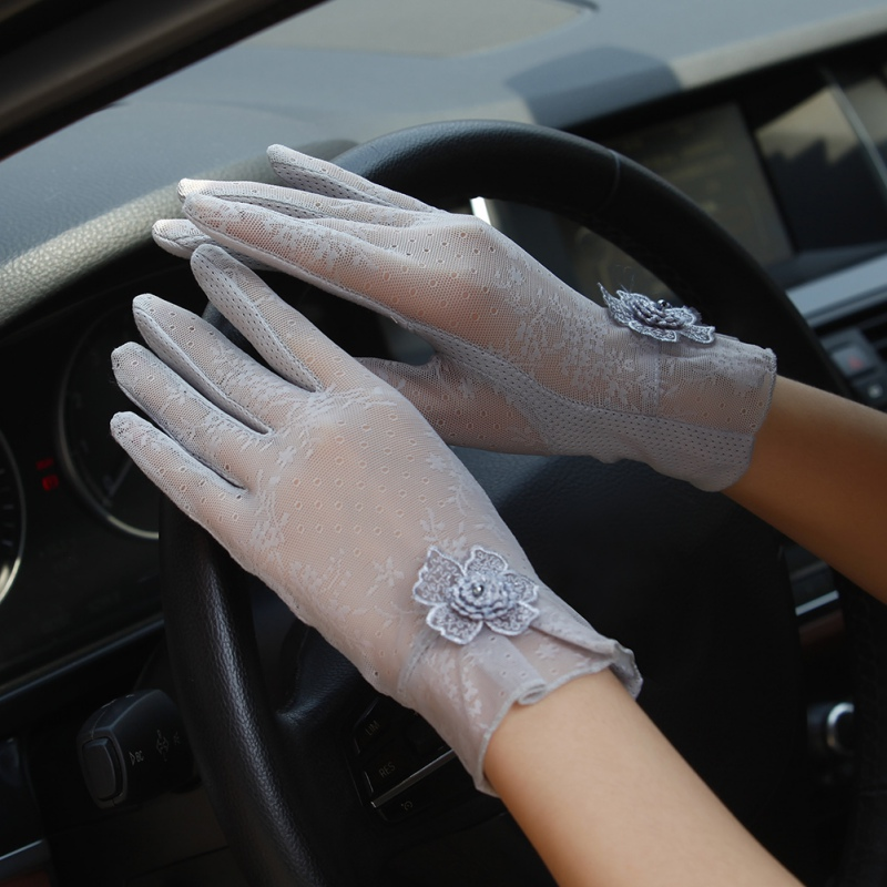 Women UV Sunscreen Short Sun Gloves Summer Fashion Ice Silk Lace Driving Of Thin Touch Screen Lady Gloves Hot