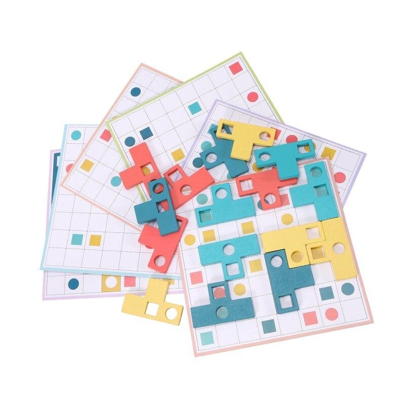 Материал для раннего развития детей игрушка-Танграм доска для головоломки Пазлы красочные деревянные игрушки для детей, логическое мышлен...