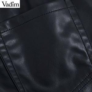Image 4 - Vadim women pu leather black shorts zipper fly elastic waist pockets female casual shorts bow tie sashes pantalones cortos SA190