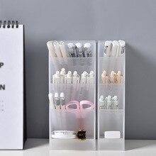Creative Multifunctional 4 Grid Desktop Organizer Pen Holder Makeup Storage Box School Office Accessories Stationery