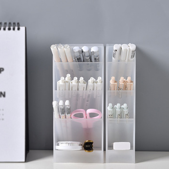 Creative Multifunctional 4 Grid Desktop Organizer Pen Holder Makeup Storage Box School Office Accessories Stationery