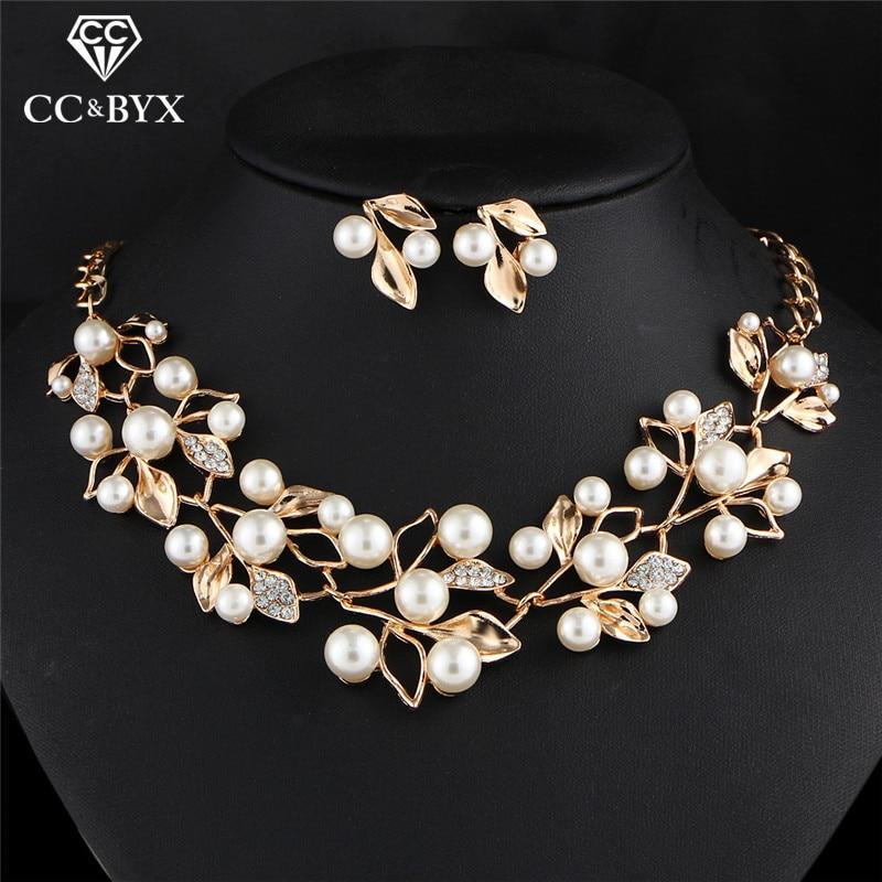 CC Necklace Drop Earrings Fashion Jewelry Sets 2pcs Imitation Pearl Mariage Fine Gift Wedding Elegant Crystal Leaf Shape YH162