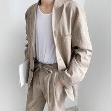 Men 2PCS Suits Sets Cotton Linen Causal Suit Blazers Pant Male Japan Korea Stree