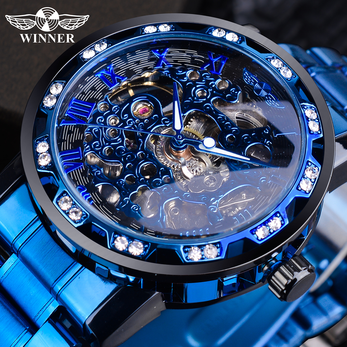 Winner Transparent Diamond Mechanical Watch Blue Stainless Steel Skeleton Watch Top Brand Luxury Business Luminous Male Clock