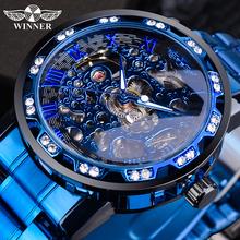 Zwycięzca przejrzysty diament zegarek mechaniczny niebieski zegarek ze stali nierdzewnej z motywem szkieletu Top marka luksusowy biznes Luminous męski zegar tanie tanio Temeite bez wodoodporności CN (pochodzenie) Zapięcie bransolety Moda casual Mechaniczna nakręcana wskazówka 21cm