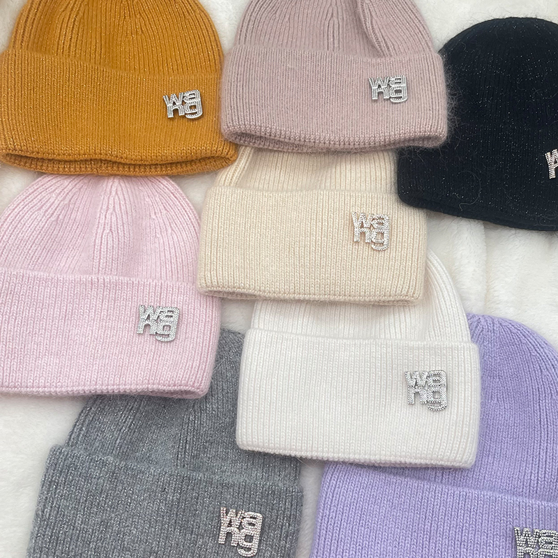 Men's and women's Korean letter logo knitted hat autumn and winter all-match solid color woolen warm hat